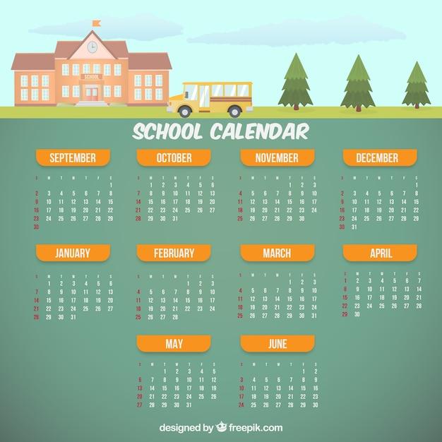 Calendário escolar com ônibus Vetor grátis