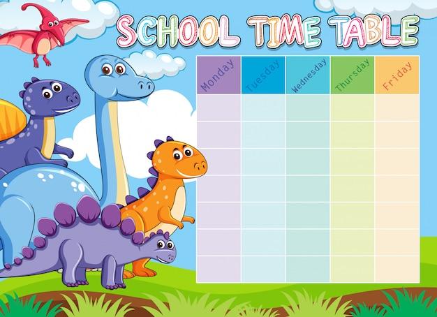 Calendário escolar de dinossauros com animais Vetor grátis