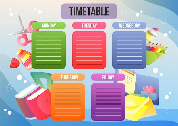 Calendário escolar ou plano semanal Vetor Premium