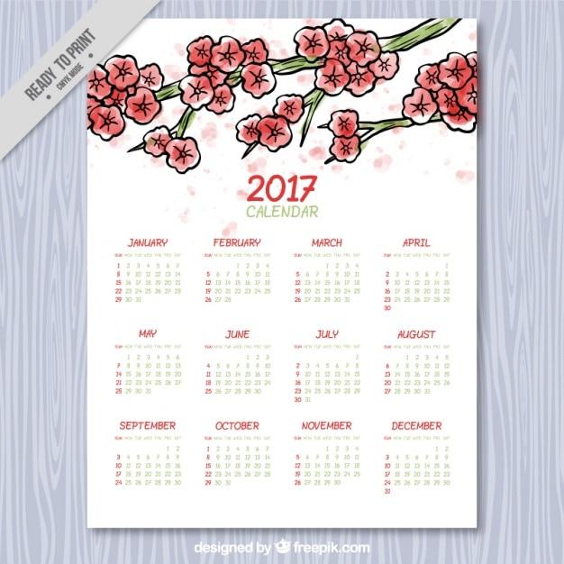 Calendário floral no estilo da aguarela Vetor grátis