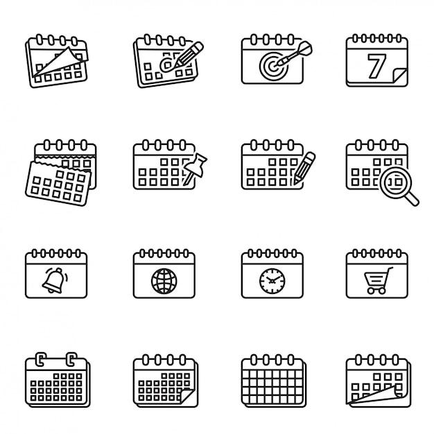 Calendário, gerente de tarefas de calendário, calendários, calendário diário, calendário de parede, conjunto de ícones de calendário semanal. Vetor Premium