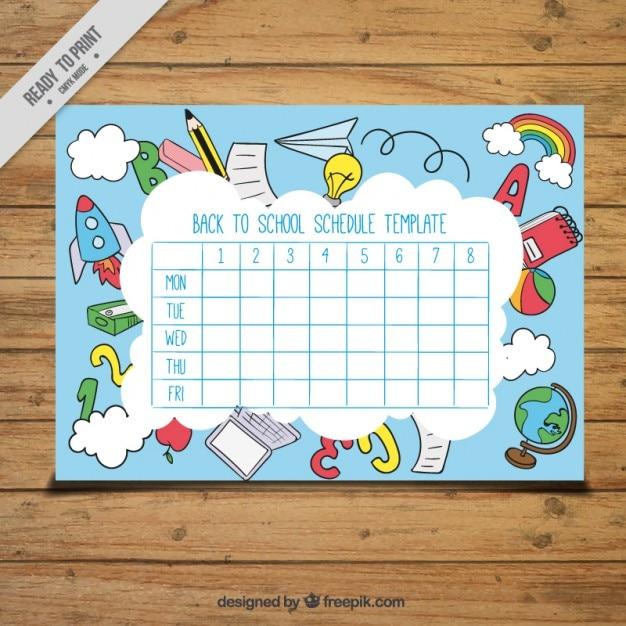 Calendário incrível para a escola Vetor grátis
