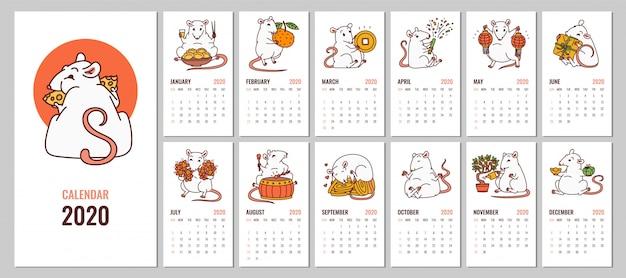 Calendário mensal 2020 com símbolo de ano novo chinês do rato. Vetor Premium