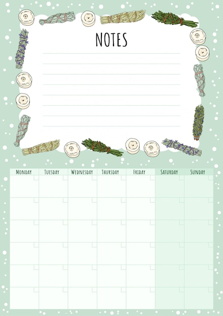 Calendário mensal boho com manchas de sálvia varas elementos e lista de afazeres. Vetor Premium