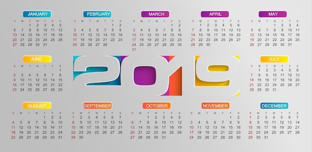 Calendário moderno para o ano de 2019 Vetor Premium