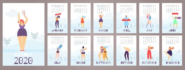 Calendário mulher 2020 12 meses estilo flat feminista Vetor Premium