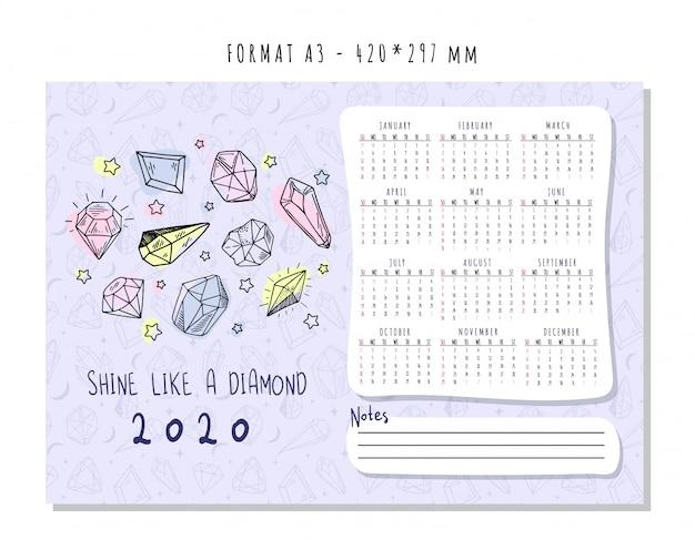 Calendário para 2020 com cristais geométricos coloridos ou gemas, diamantes de jóias e pedras preciosas Vetor Premium