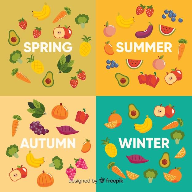Calendário plano colorido de frutas e legumes da estação Vetor grátis