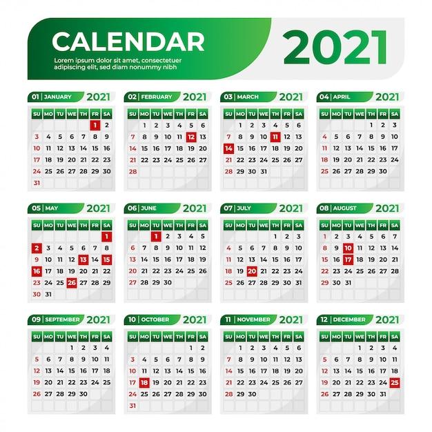 Calendário profissional de negócios com uma cor gradiente verde Vetor Premium