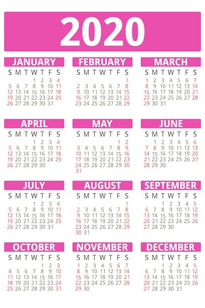 Calendário rosa ano 2020, estilo simples Vetor Premium