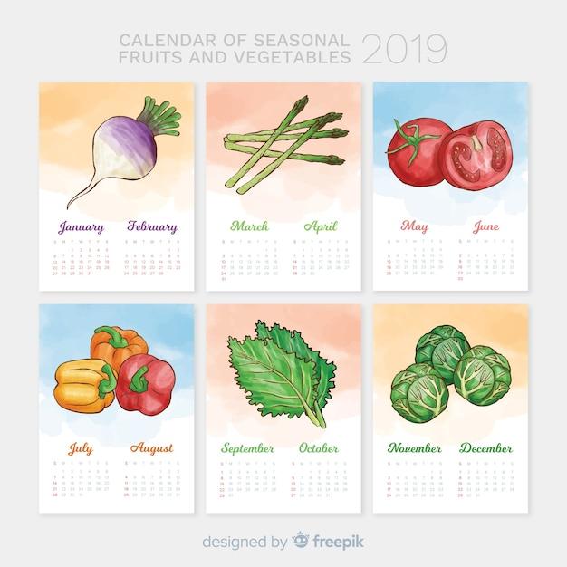 Calendário sazonal de legumes e frutas Vetor grátis