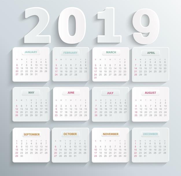 Calendário simples para o ano de 2019 Vetor Premium