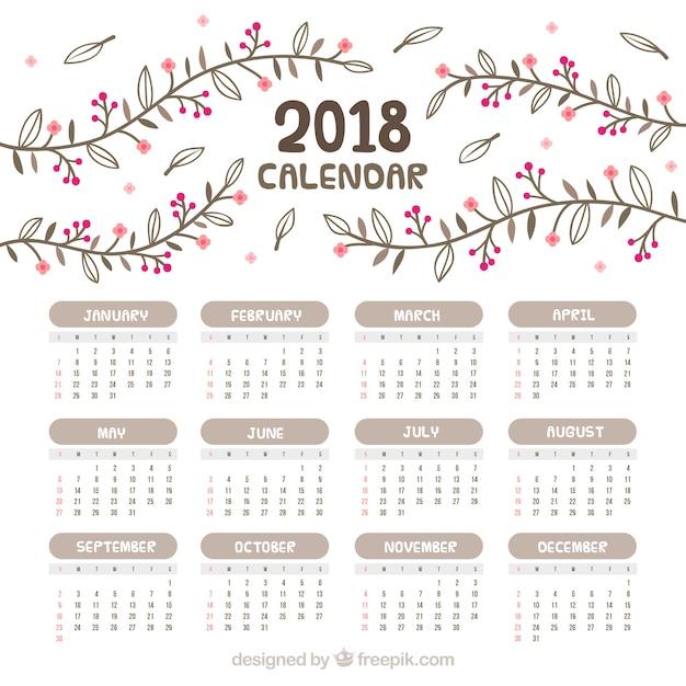 February 2018 Calendar Vintage : Calendário vintage com flores desenhadas à mão