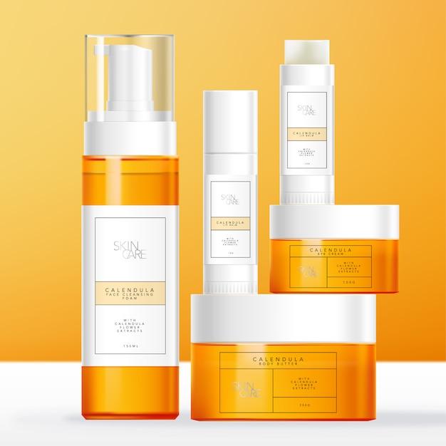 Calendula theme cuidados com a pele, produtos de beleza ou de higiene pessoal com tubo de bálsamo para lábios, frasco e frasco de espuma de cor laranja transparente. Vetor Premium