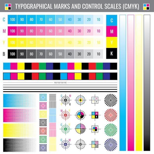 Calibração de impressão de marcas de corte. documento de vetor de teste de cor cmyk Vetor Premium