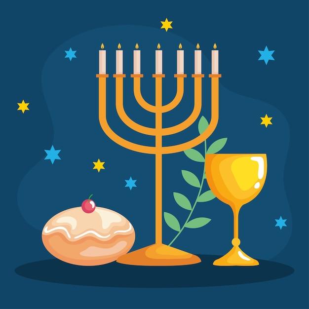 Cálice de hanukkah menorah feliz e design sufganiot, celebração de feriado, festival de religião do judaísmo Vetor Premium