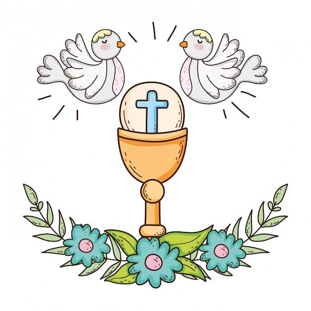Cálice sagrado religioso com pássaros de pombas Vetor Premium