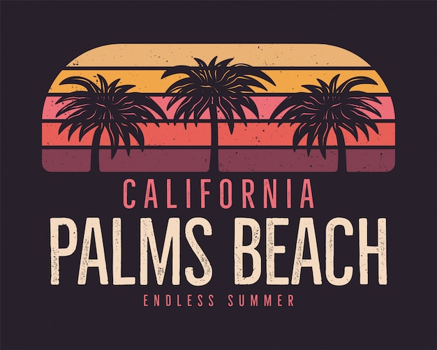 Califórnia palms beach, fundo de surf de verão Vetor Premium