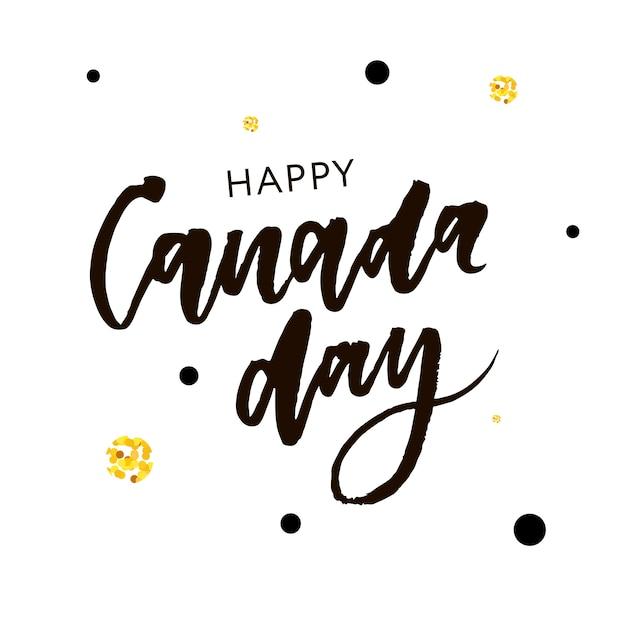 Caligrafia da frase de rotulação do feriado do dia de canadá Vetor Premium