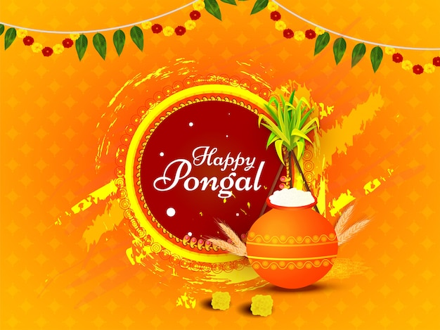 Caligrafia de feliz pongal com pote de barro de arroz, orelha de trigo, cana de açúcar e pincel grunge efeito na laranja. Vetor Premium