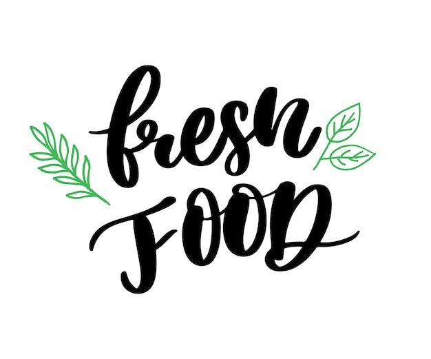 Caligrafia de letras de alimentos frescos verde carimbo de borracha Vetor Premium