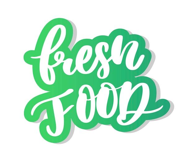 Caligrafia de letras de alimentos frescos Vetor Premium