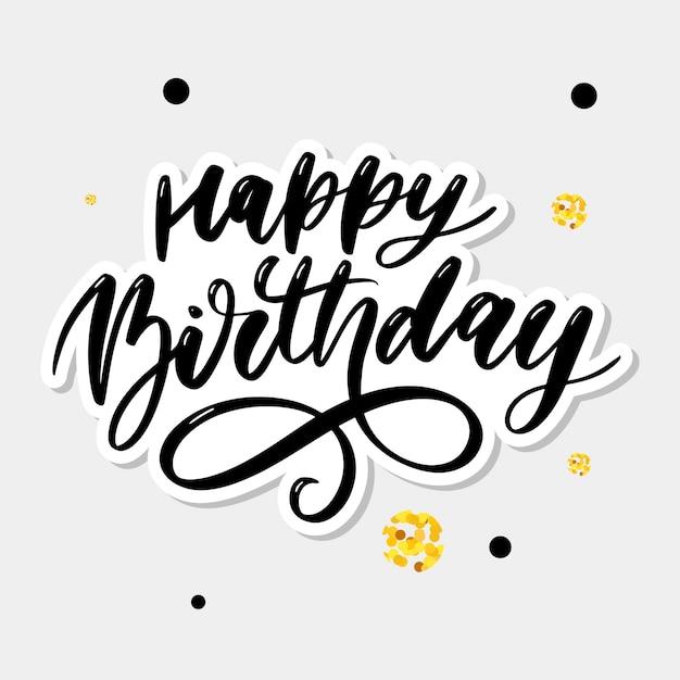 Caligrafia de letras de feliz aniversário Vetor Premium