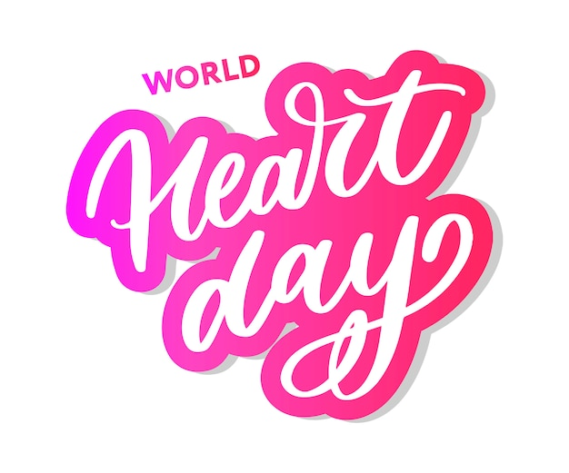 Caligrafia de letras do dia mundial do coração Vetor Premium