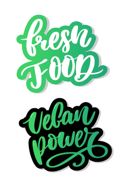 Caligrafia de letras vegan comida fresca carimbo verde Vetor Premium