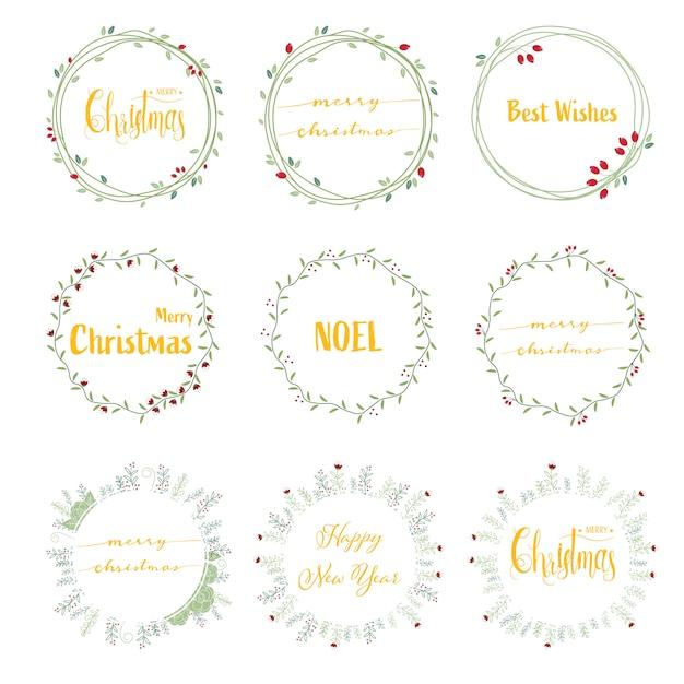 Caligrafia de natal feliz dourado Vetor Premium