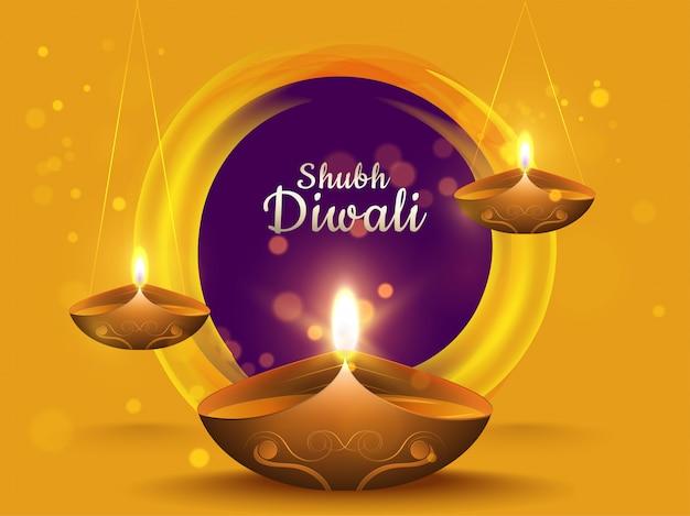Caligrafia de shubh diwali em efeito circular roxo bokeh em fundo amarelo Vetor Premium