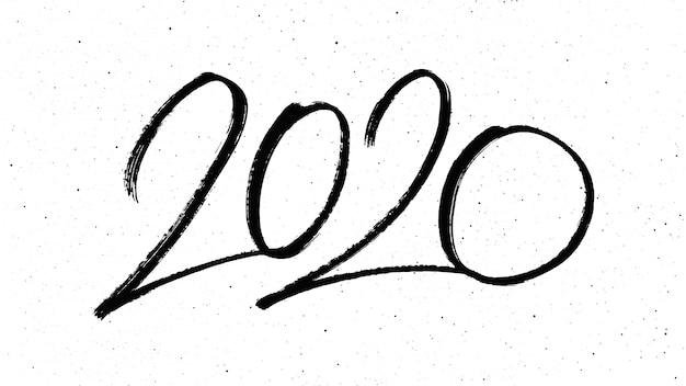 Caligrafia para o ano novo de 2020 Vetor Premium
