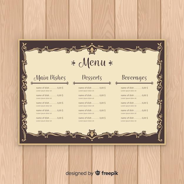Caligrafia vintage elegante modelo de menu Vetor grátis