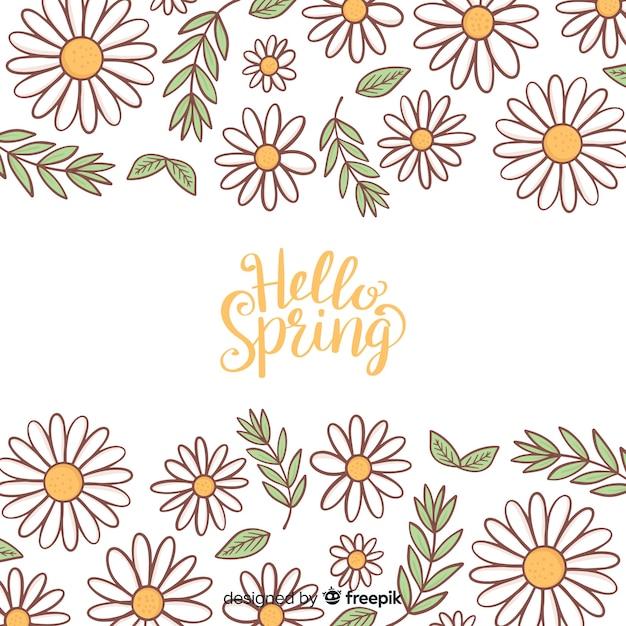 Caligráfico, desenhado, floral, primavera, fundo Vetor grátis