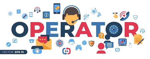 Call center e ícones de suporte de feedback de negócios Vetor Premium