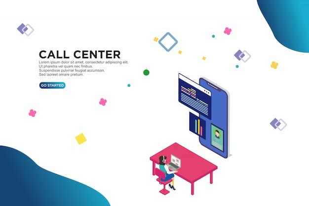 Call center isométrico Vetor Premium