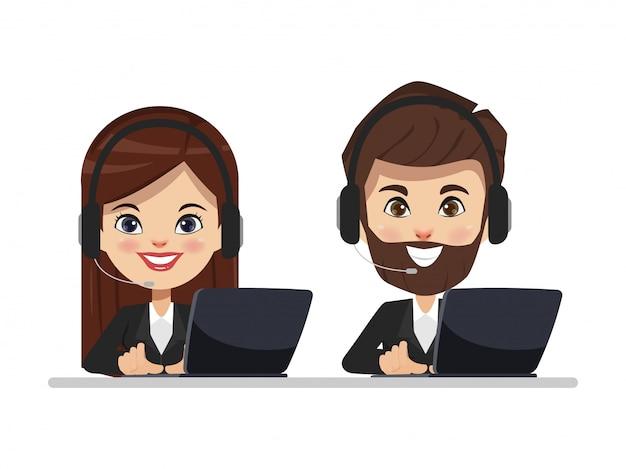 Call center para atendimento ao cliente com fone de ouvido telefone e laptop. Vetor Premium
