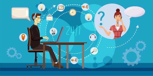Call center redondo conceito horizontal. ilustração dos desenhos animados do call center redondo fundo horizontal Vetor Premium