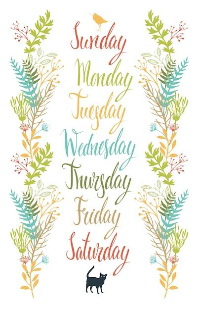 Calligraphy dias da semana com flores Vetor grátis