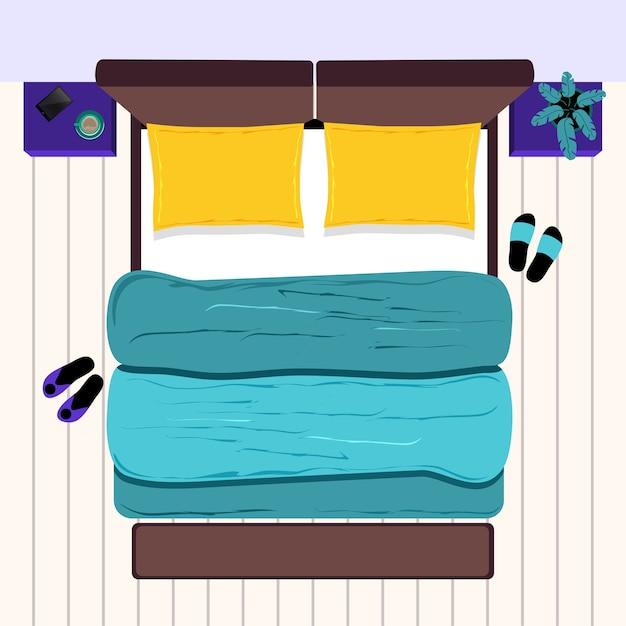 Cama de casal com mesinhas de cabeceira. quarto. vista do topo. Vetor Premium