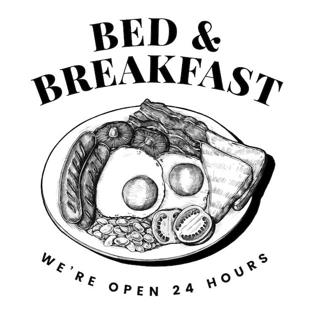 Cama e café da manhã logotipo desenho vector Vetor grátis