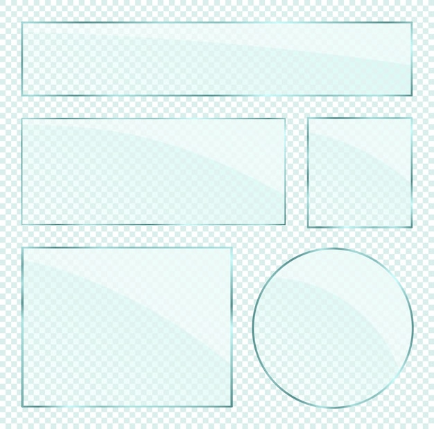 Camadas de placas de vidro realistas definidas em fundo alfa transparente Vetor Premium