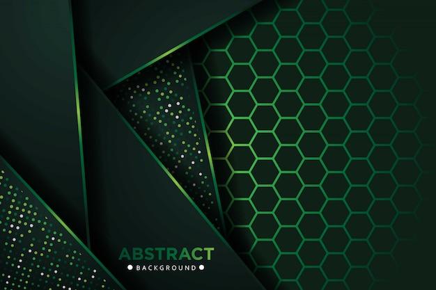 Camadas de sobreposição verde escura abstrata com fundo de padrão de malha hexágono Vetor Premium