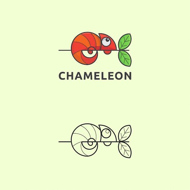 Camaleão de logotipo de ícone com estilo simples Vetor Premium