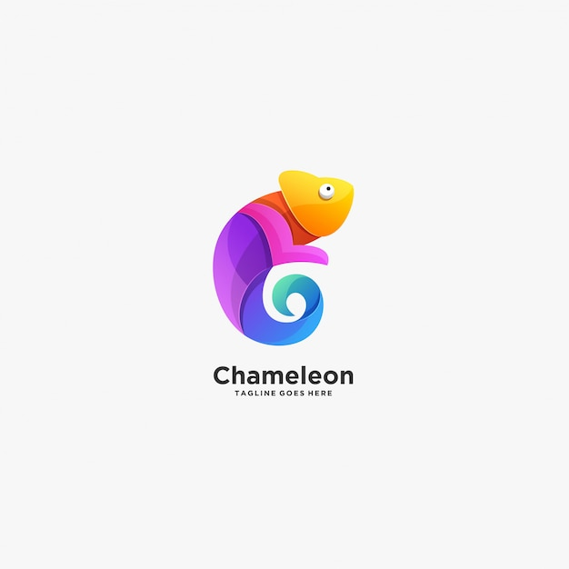 Camaleão pose gradiente colorido Vetor Premium