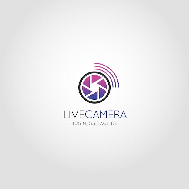 Câmara ao vivo - modelo de logotipo da câmera de câmeras de transmissão Vetor Premium