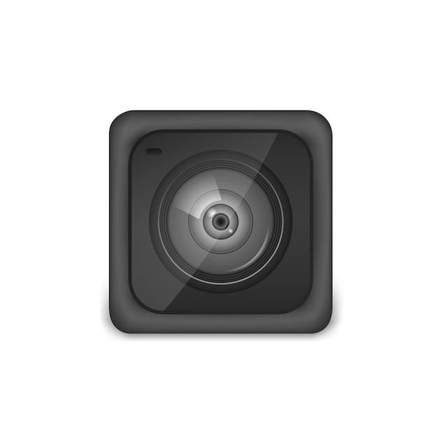 Câmara de vídeo de ação compacta e preta. foto, equipamentos de câmera de vídeo para filmar esportes radicais. ilustração vetorial realista isolado Vetor Premium
