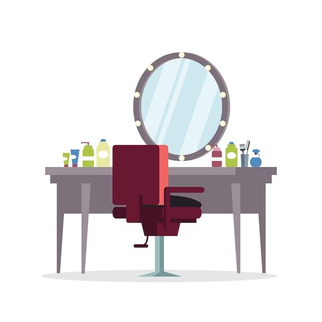 Camarim do ator, ilustração de barbearia. cabeleireiro, profissão de estilista. cadeira de barbeiro e mesa com ferramentas de cabeleireiro, equipamentos. elemento de serviço de beleza profissional Vetor Premium