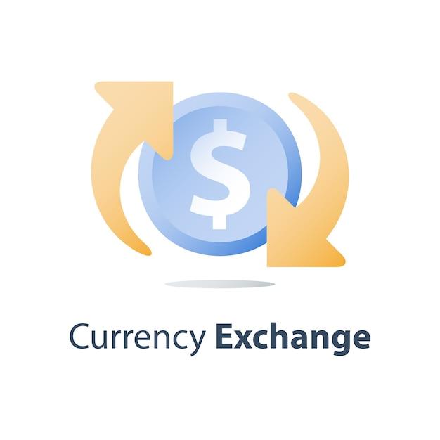 Câmbio monetário Vetor Premium