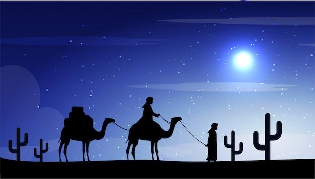 Camelos na lua da noite no deserto Vetor Premium